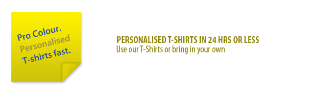 Printed personalised t shirt pro colour for 24 hour t shirt printing