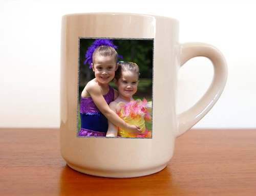 Two girls on a personalised mug